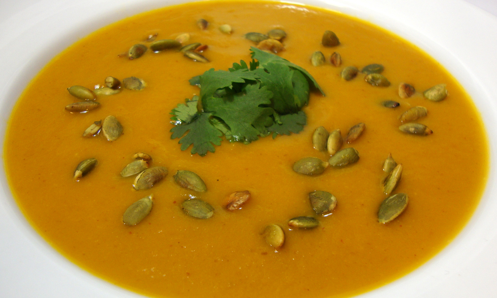 Spicy Chipotle Pumpkin Soup with Toasted Pepitas