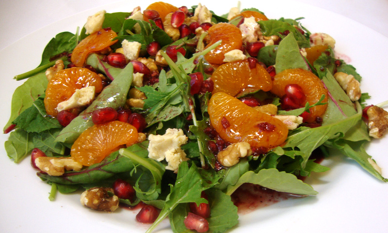 Mediterranean Mixed Green Salad with Pomegranate Vinaigrette