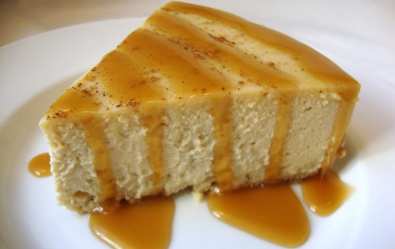 'Nog Cheesecake with Brandied Caramel Sauce